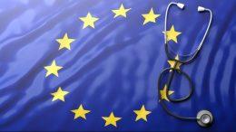 Un drapeau de l'union européenne et une stéthoscope
